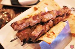 Grilled Brochette - Rib eye on skewers with herb dip and yogurt dip