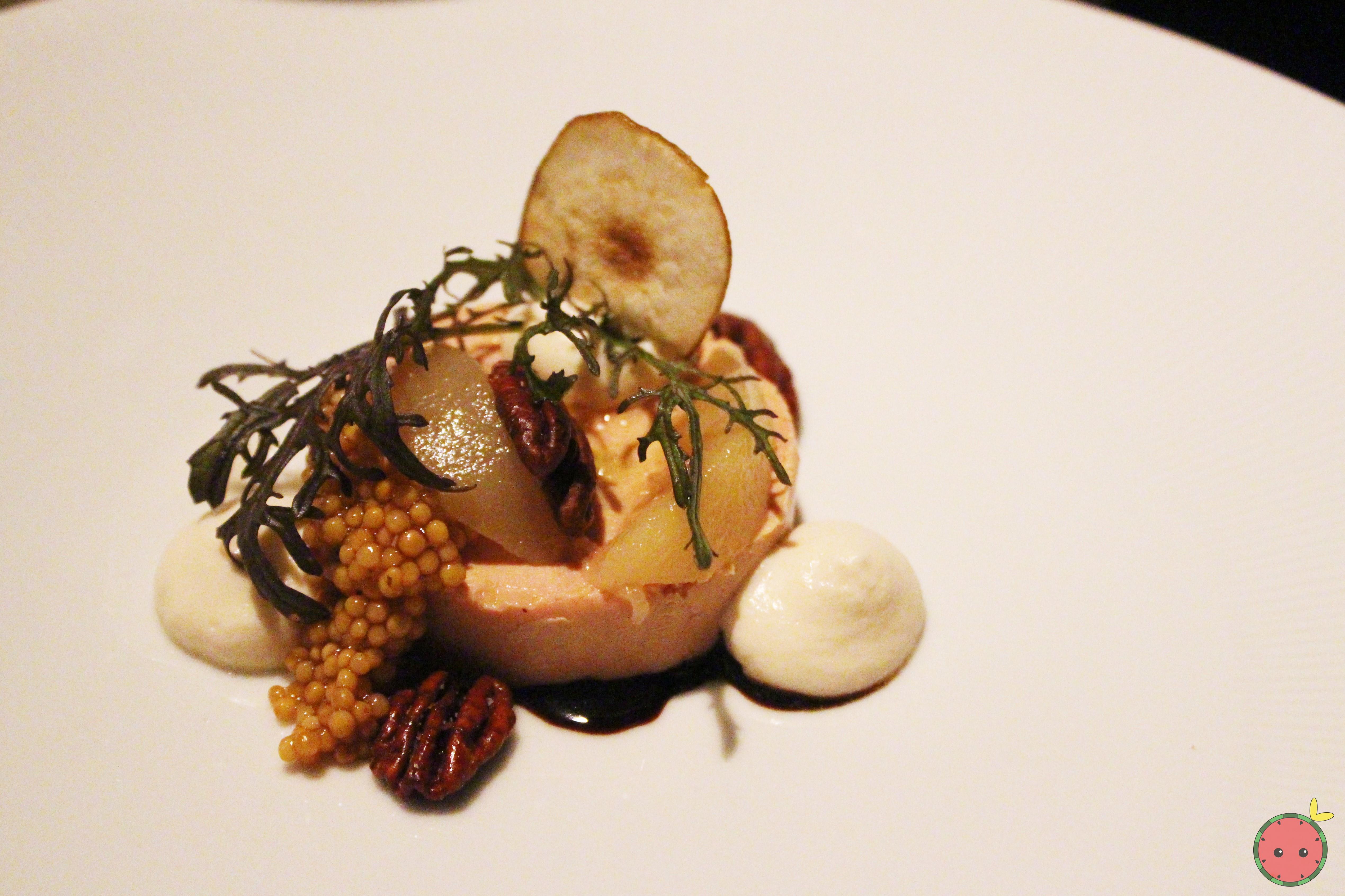 Torchon - Foie gras au naturel, seckel pear, pecans, 25 year balsamic, toasted brioche