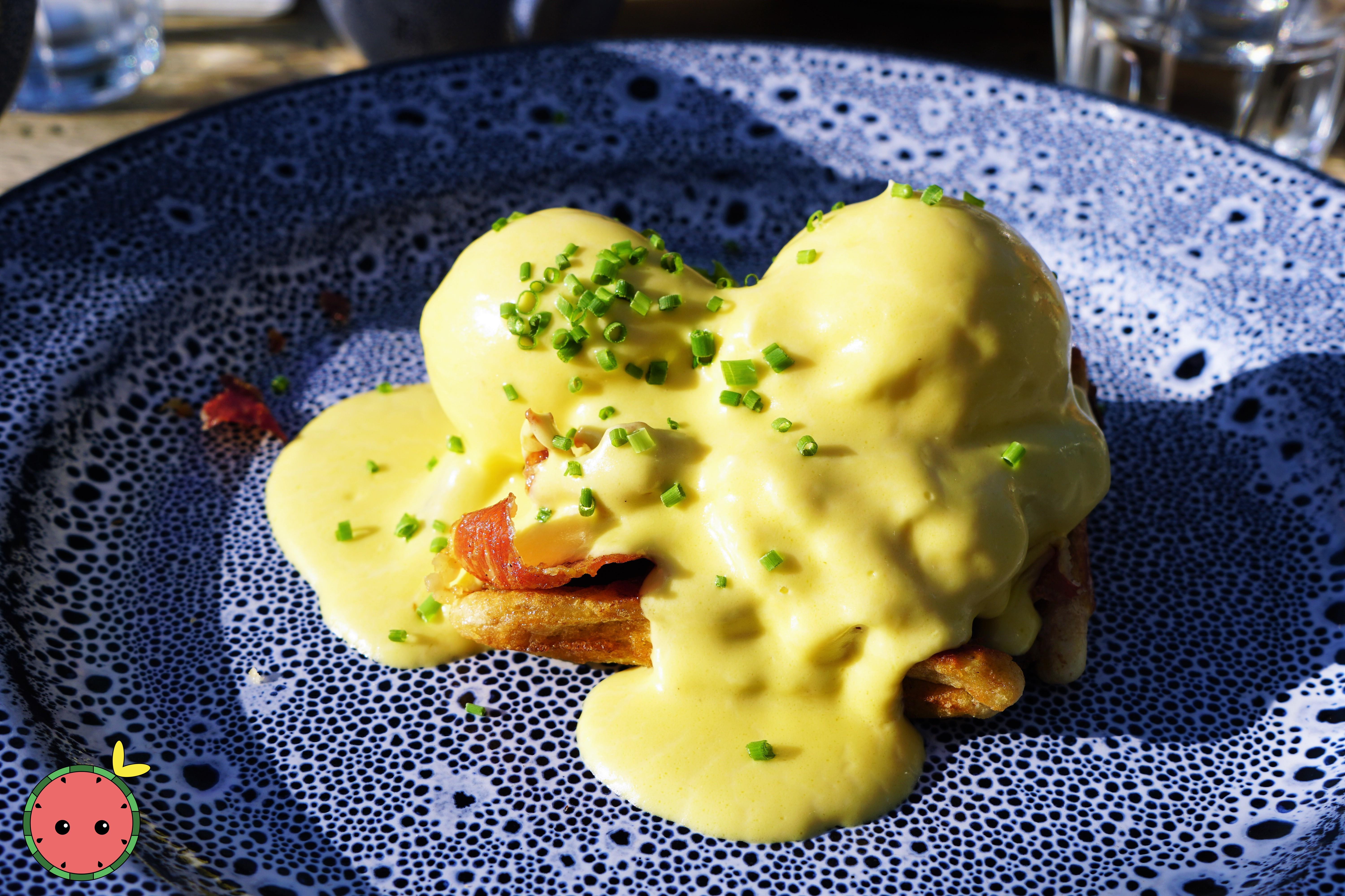 Egg Benedicts with Crispy Coppa and Holl