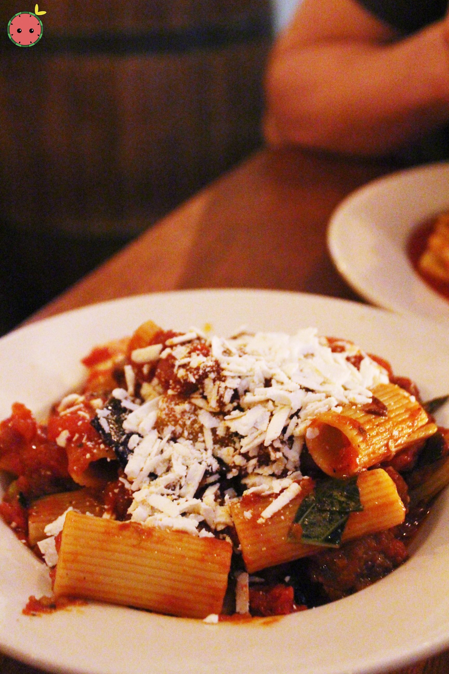 Rigatoni Norma Con Ricotta Salata - rigatoni with fresh tomatoes, eggplant & salted ricotta