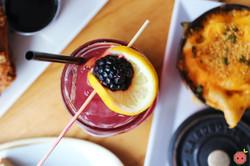 Blackberry bourbon lemonade (made with buffalo trace bourbon, fresh lemon and cardamom)