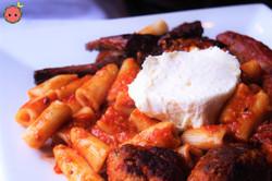 Sunday Macaroni - Meatballs, Sulmona Sausage, & Beef Rib in a Savory Tomato Sauce & Dollop of Whippe