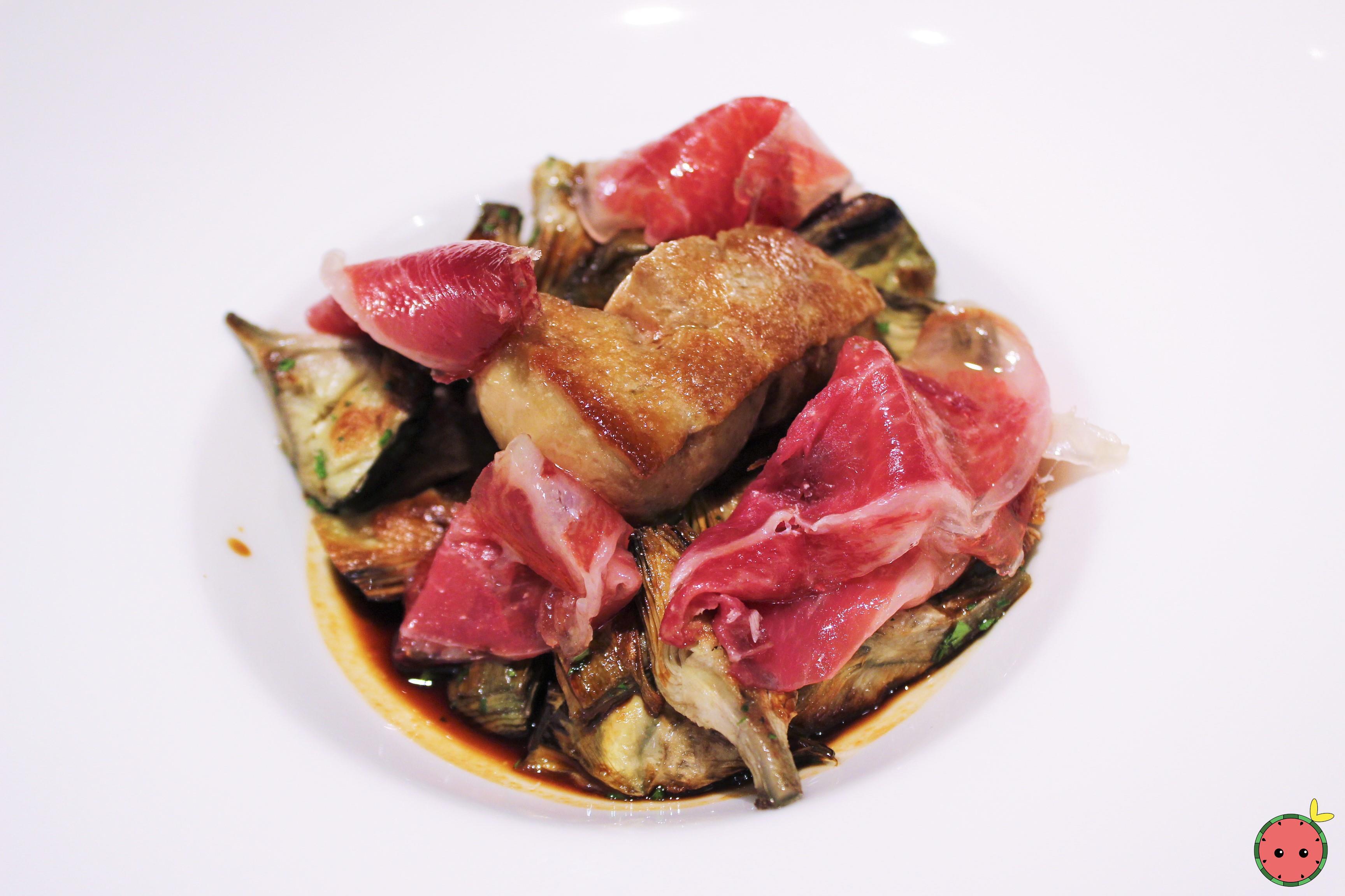 Grilled artichokes, foie and Iberian ham