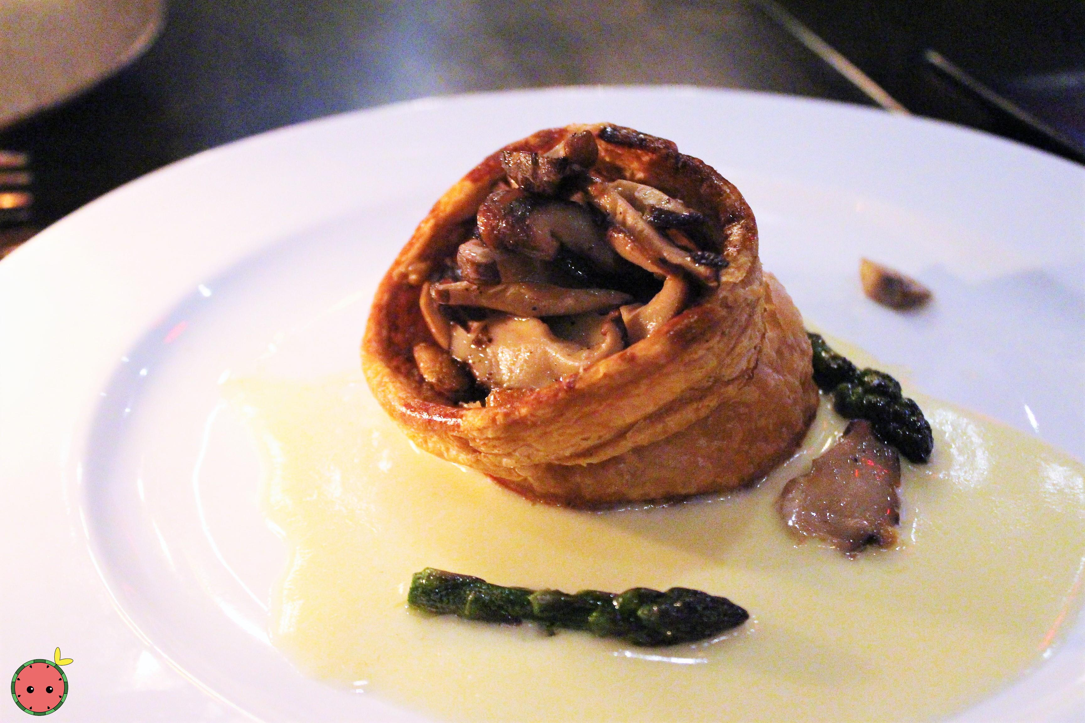 Mushroom Vol Au Vent with Jang Sauce - Mushroom mix filing, puff pastry, soy beurre blanc