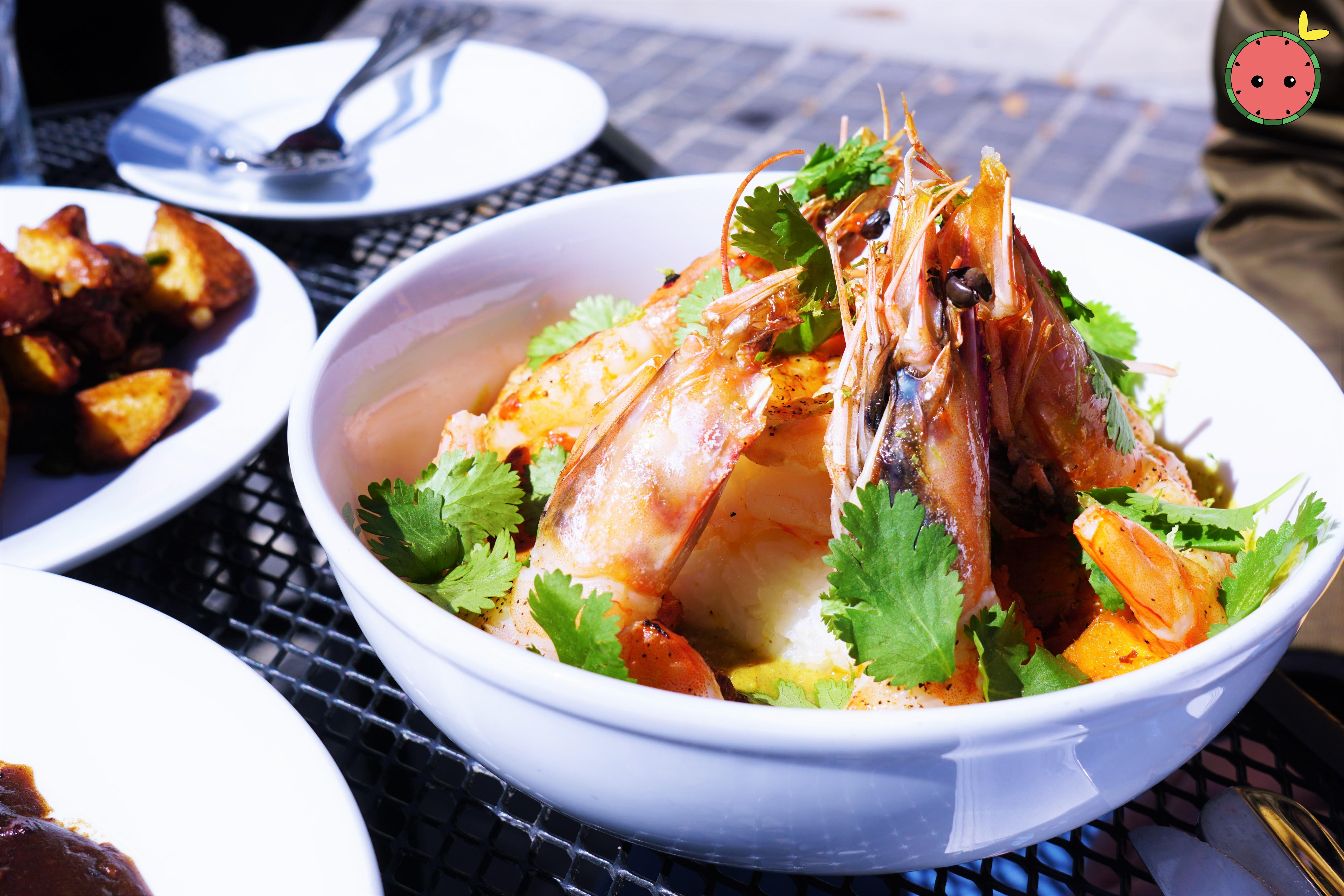 Coconut Curry Gulf Shrimp with Jalapeno Jasmine Rice, Roasted Sweet Potato, Lime, & Cilantro