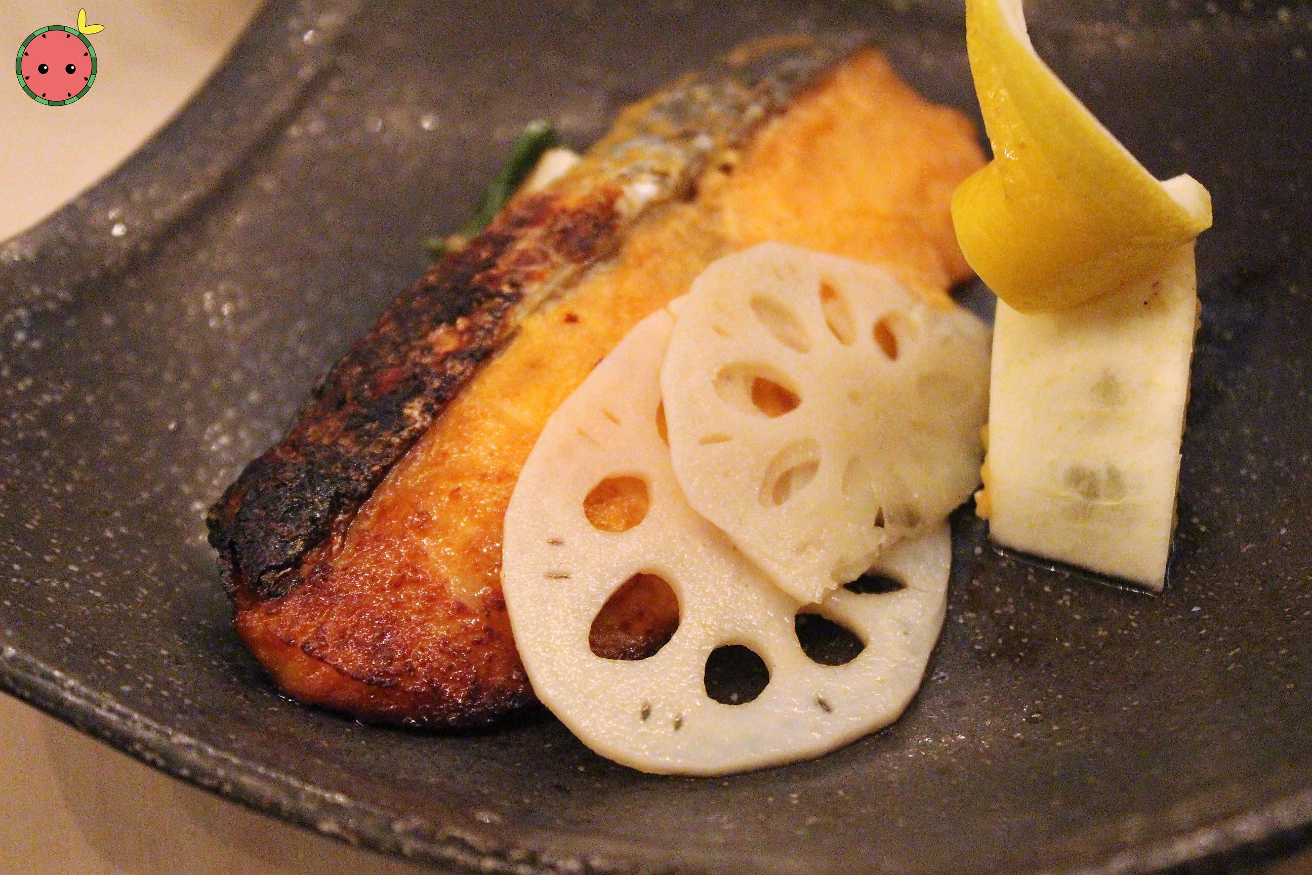 Salmon Miso - Miso-marinated salmon, charred scallion, pickled lotus root, and shishito