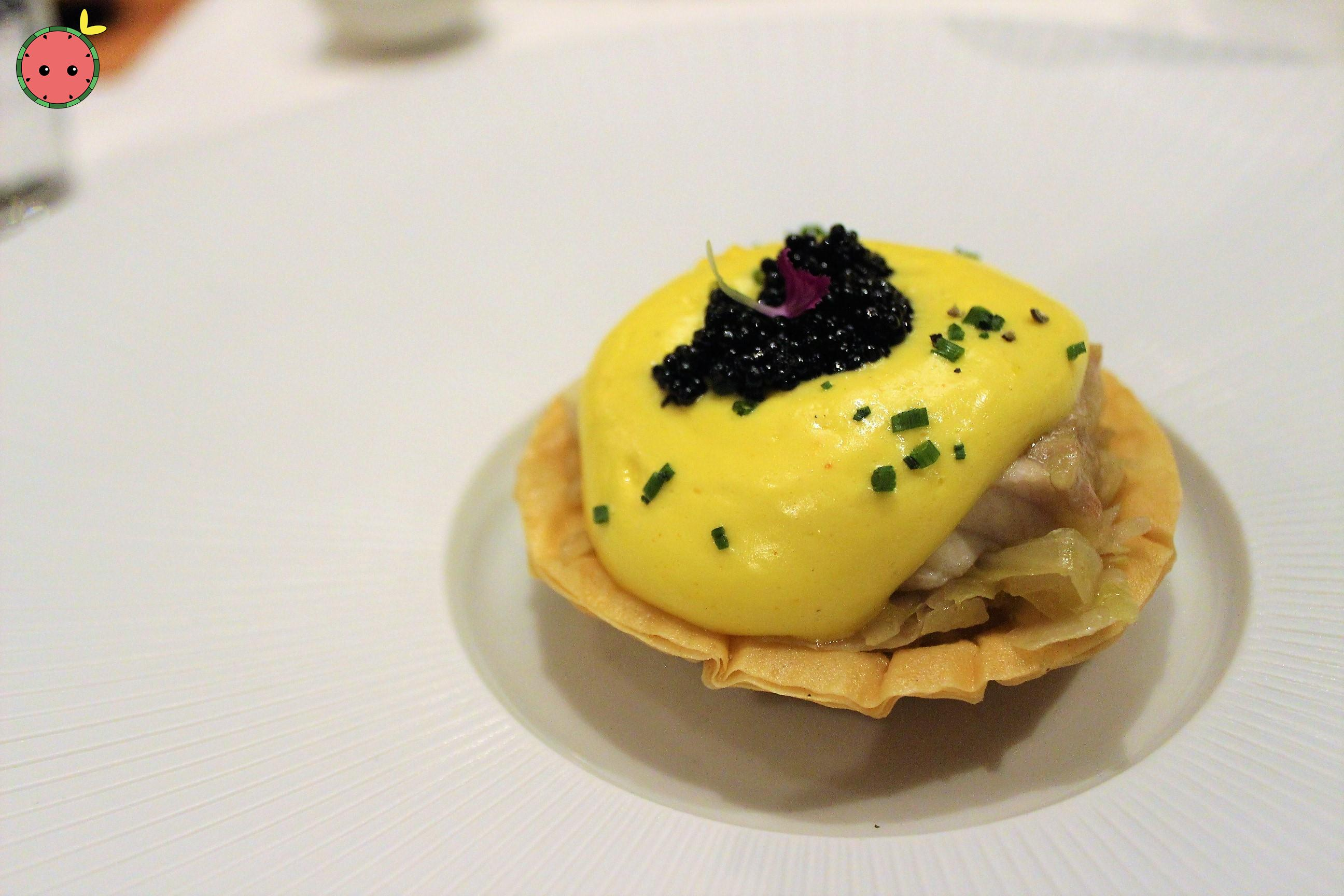 Sturgeon & Sauerkraut Tart (American caviar mousseline with applewood smoke)