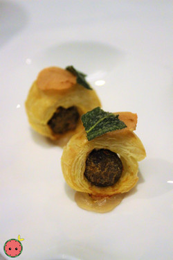 Lamb Sausage Wrapped in Puff Pastry with Pickled Granny Smith Apple
