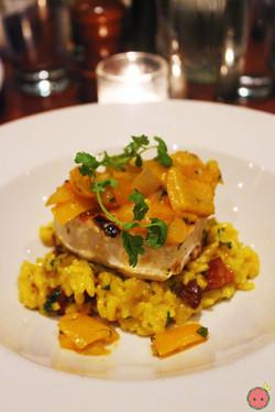 Grilled swordfish with paella risotto, chorizo, and piperade