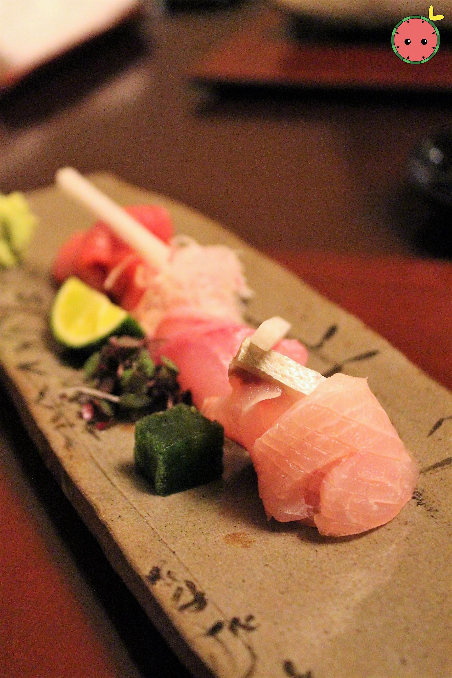 Maguro, Kanpachi, and Kue Sashimi