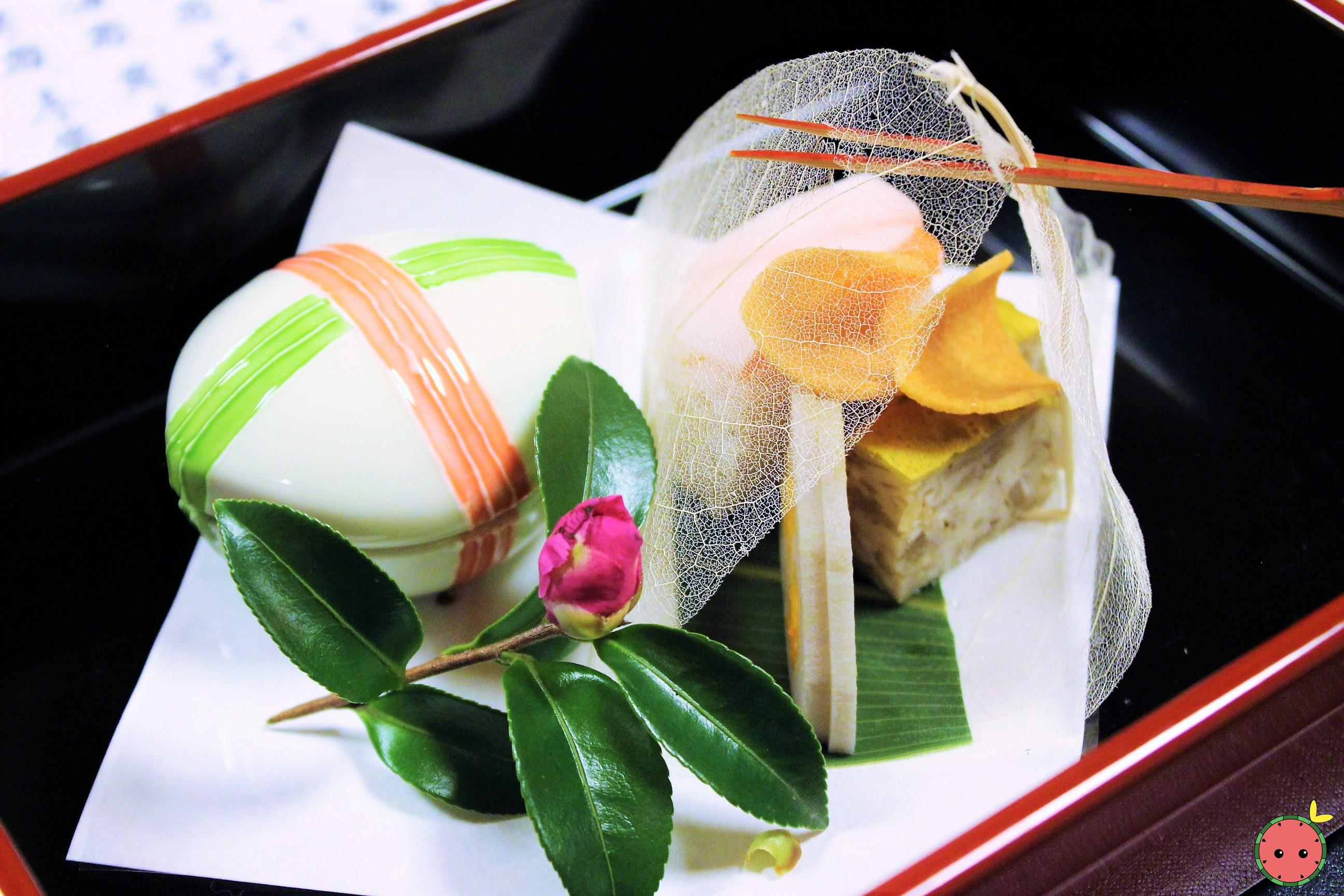 Hassun - Soft roe tofu, arrowhead rice cracker, mustard lotus root, salmon and turnip sushi, & boile