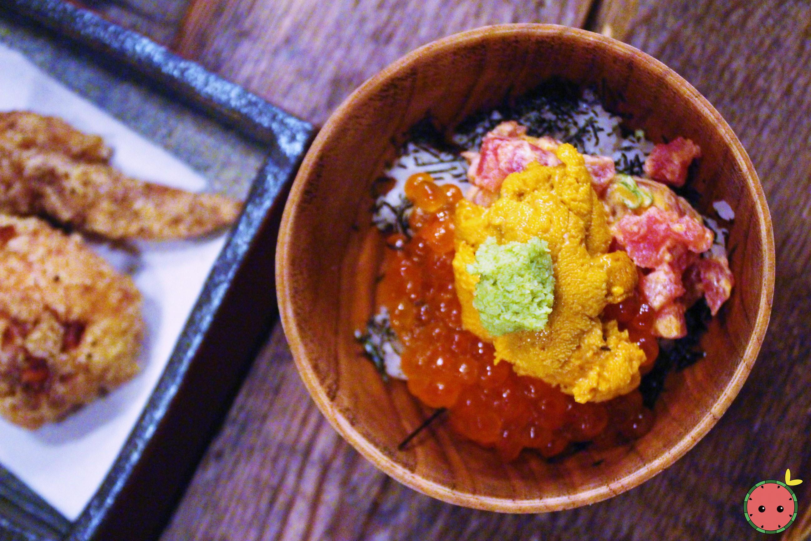 U&I - Uni, spicy maguro, ikura, sushi rice, sesame, roasted nori, and wasabi