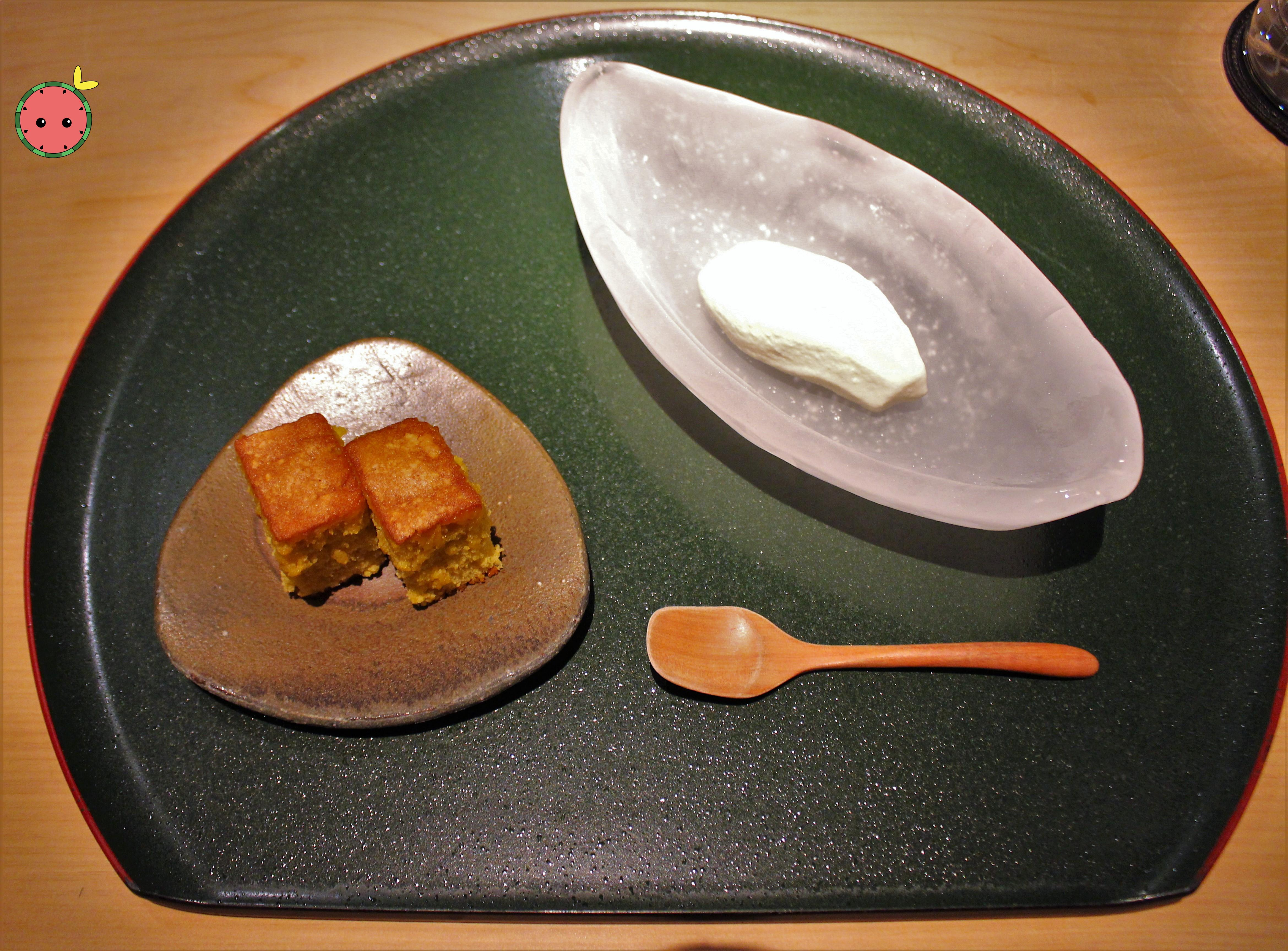 Castle cake (Japanese honey cake) with soy sauce ice cream
