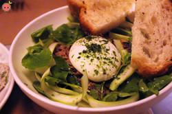 Greens, Eggs, Duck - Asparagus, poached egg, duck confit