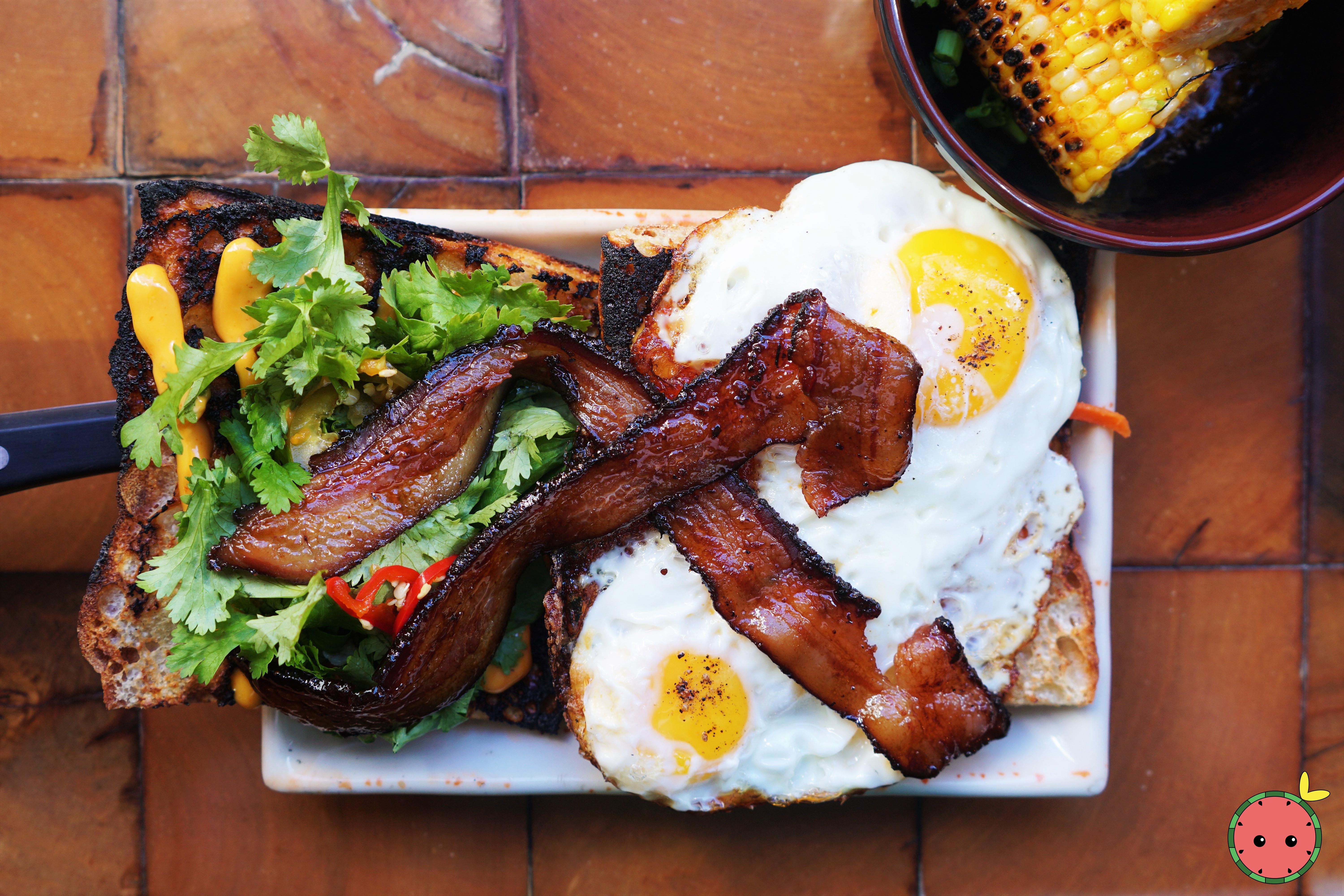 Fried Egg Banh Mi with Soy Glazed Bacon