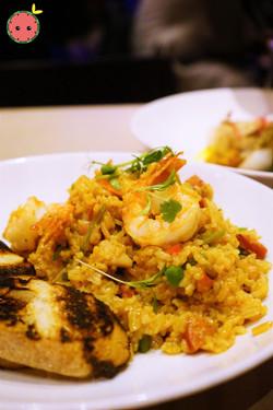 Jambalaya with Creoled Shrimp, Andouille, Chicken, Rice, Louisiana Hot Sauce