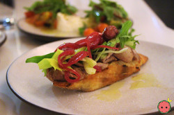 Crostini with Beef Eye Round, Pickled Re