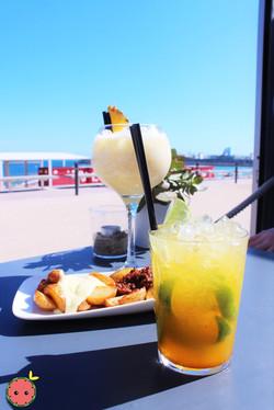 Caipirinha_Cocktail,_Spicy_Potatoes,_&_Piña_Colada