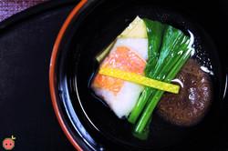 Saki-Suimono - Red bream clear soup with egg tofu, shiitake mushroom, spinach, and yuzu