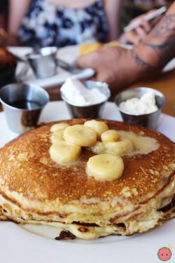 '77 Elvis Pancakes - Chocolate chip pancakes, banana compote, bourbon maple syrup, peanut butter