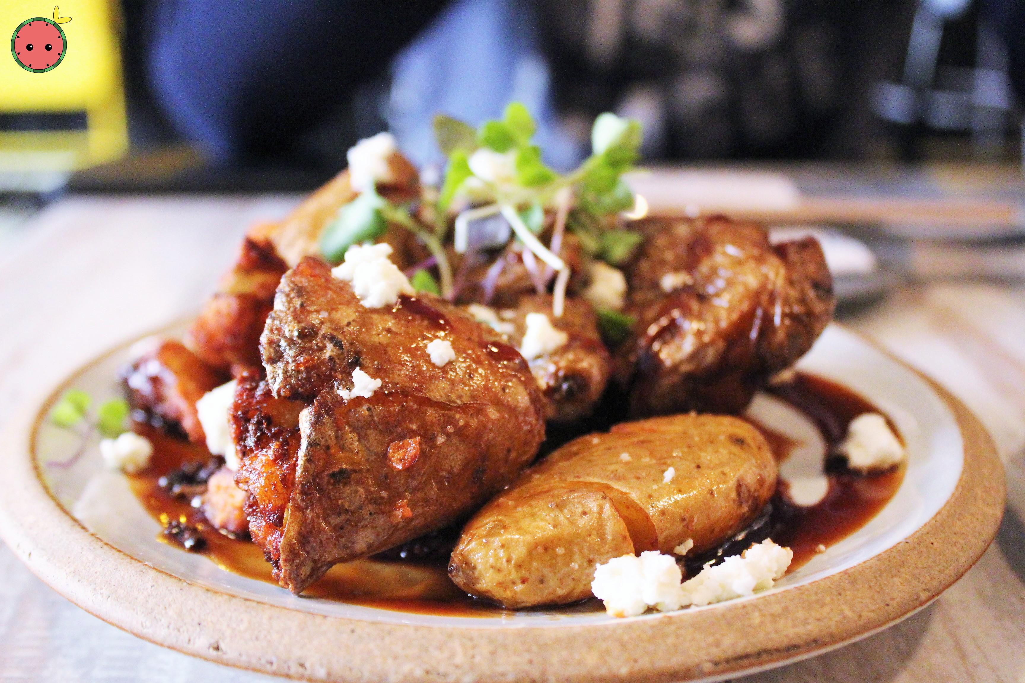 Ugly Potato - Crispy fingerling potato and feta cheese topped with smokey BBQ sauce (2)