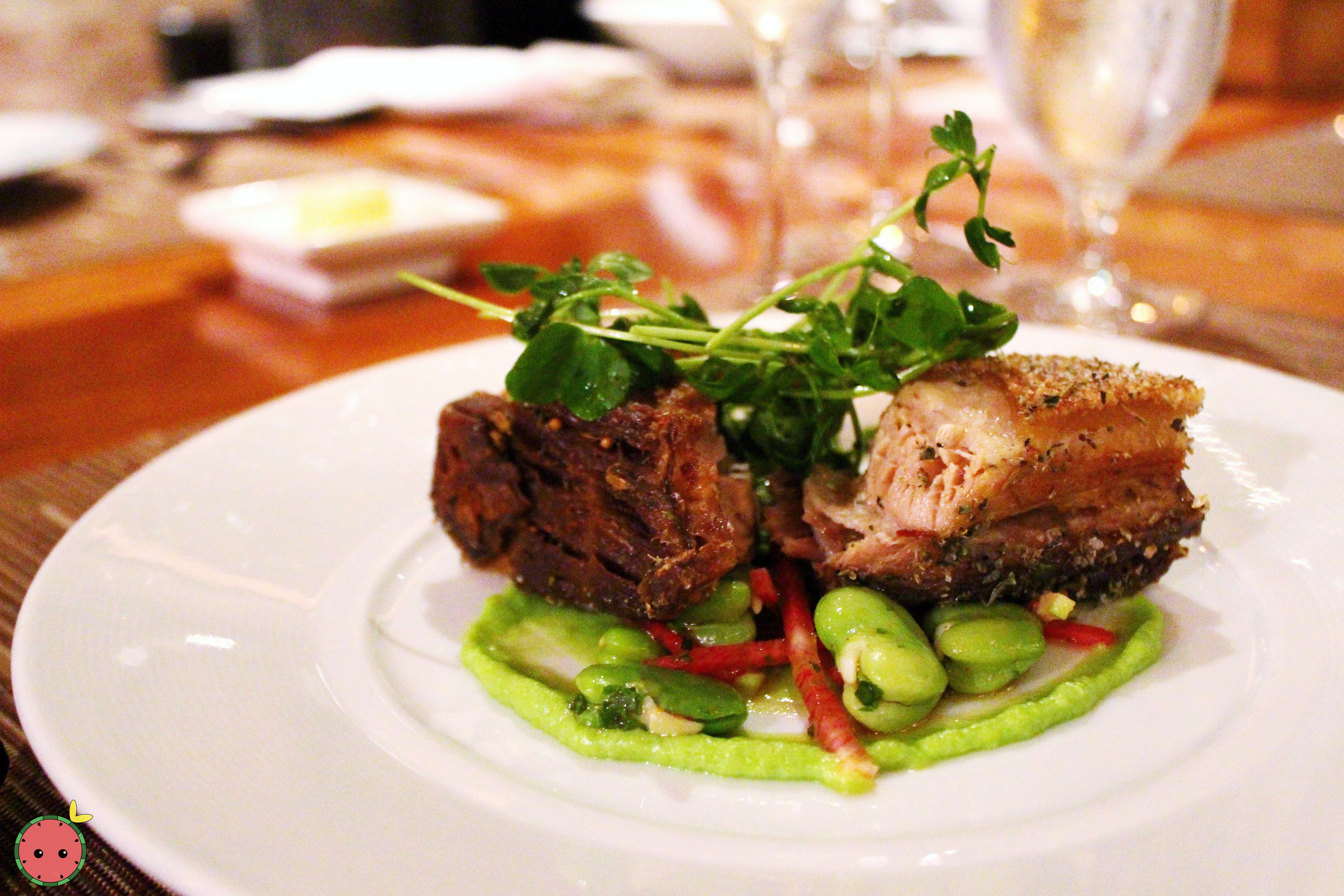 Crispy pork belly, fava beans, and lemon