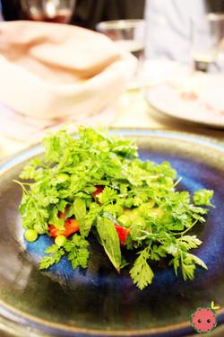 Peas, strawberries, miso (petit pois, fraise, miso)