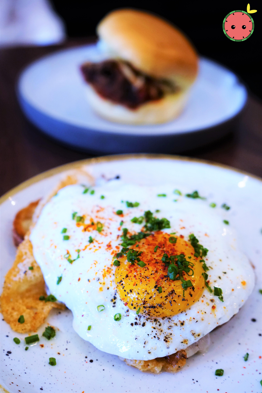 Porchetta with Aged Provolone, Broccoli Rabe, Calabrian Chile, & Sunny Egg (3)