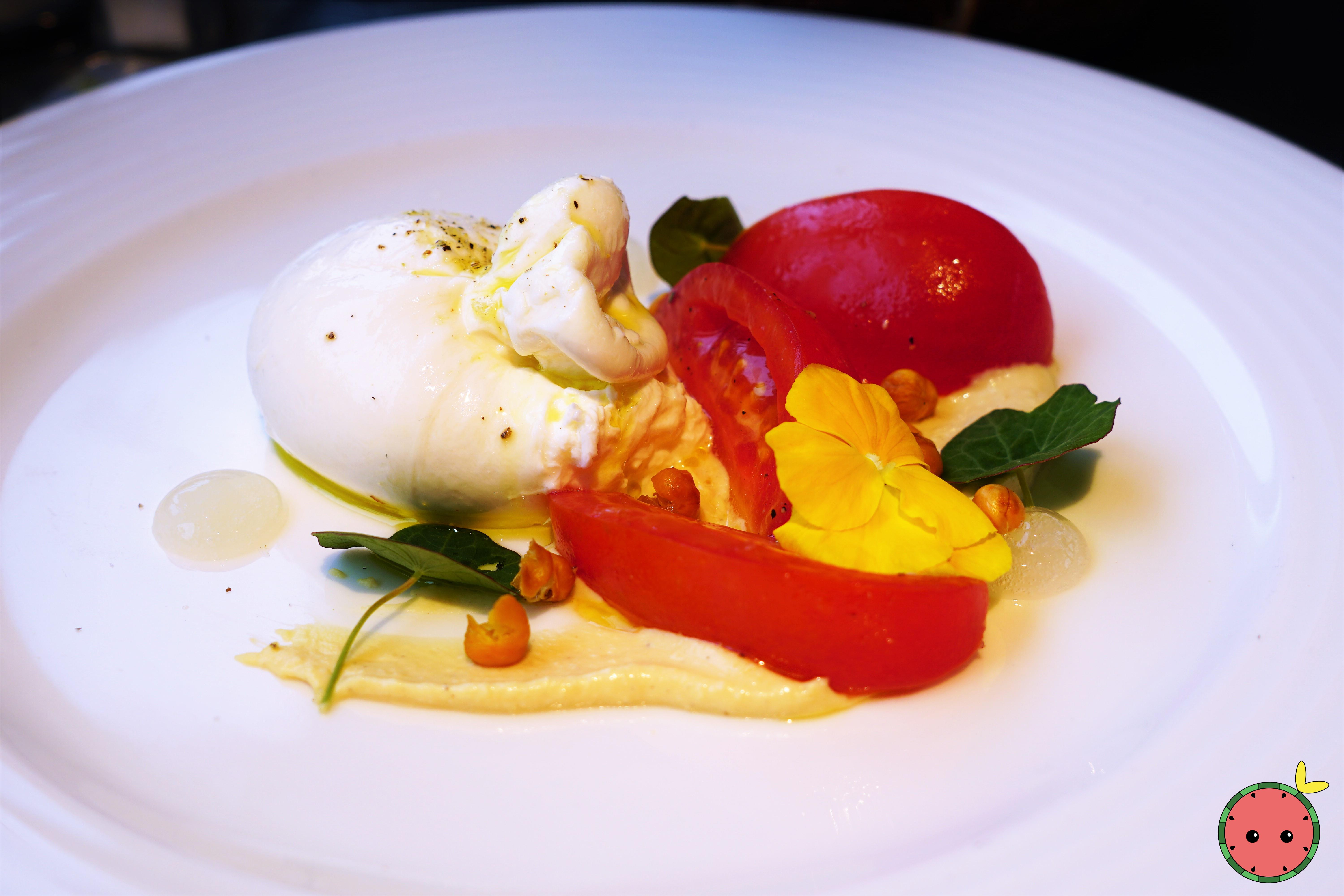 Burrata with Houmous, Tomatoes, Roasted