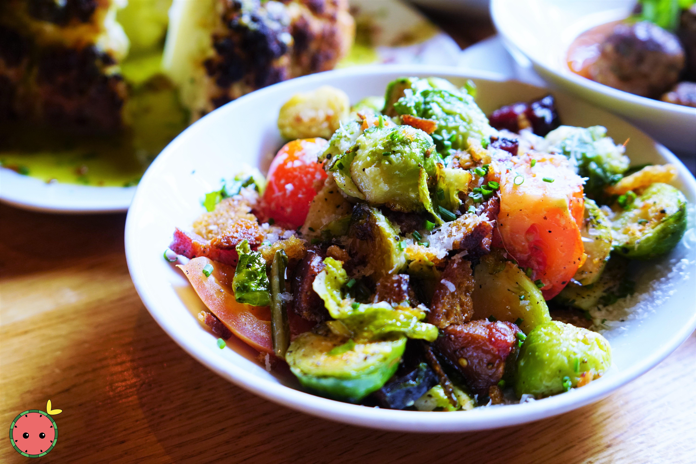 Brussels Sprouts with Basil, Lardon, Tomato, Garlic Crouton, & Pecorino Cheese
