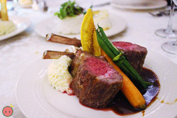 Garlic & rosemary oven roasted American lamb chops (mint demi-glace) with caramelized garlic mashed