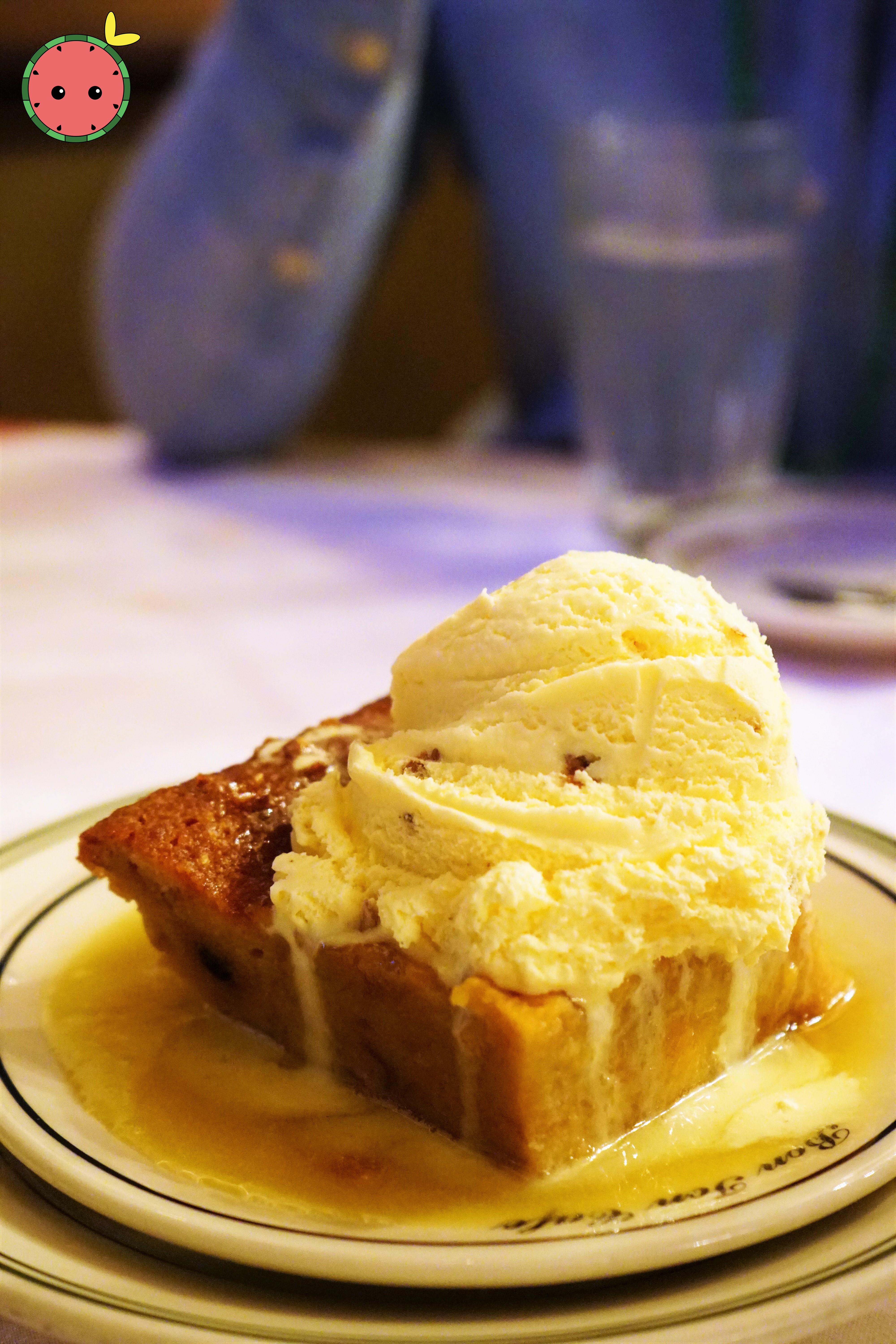 Bread Pudding with Whiskey Sauce and Butter Pecan Ice Cream A-La-Mode