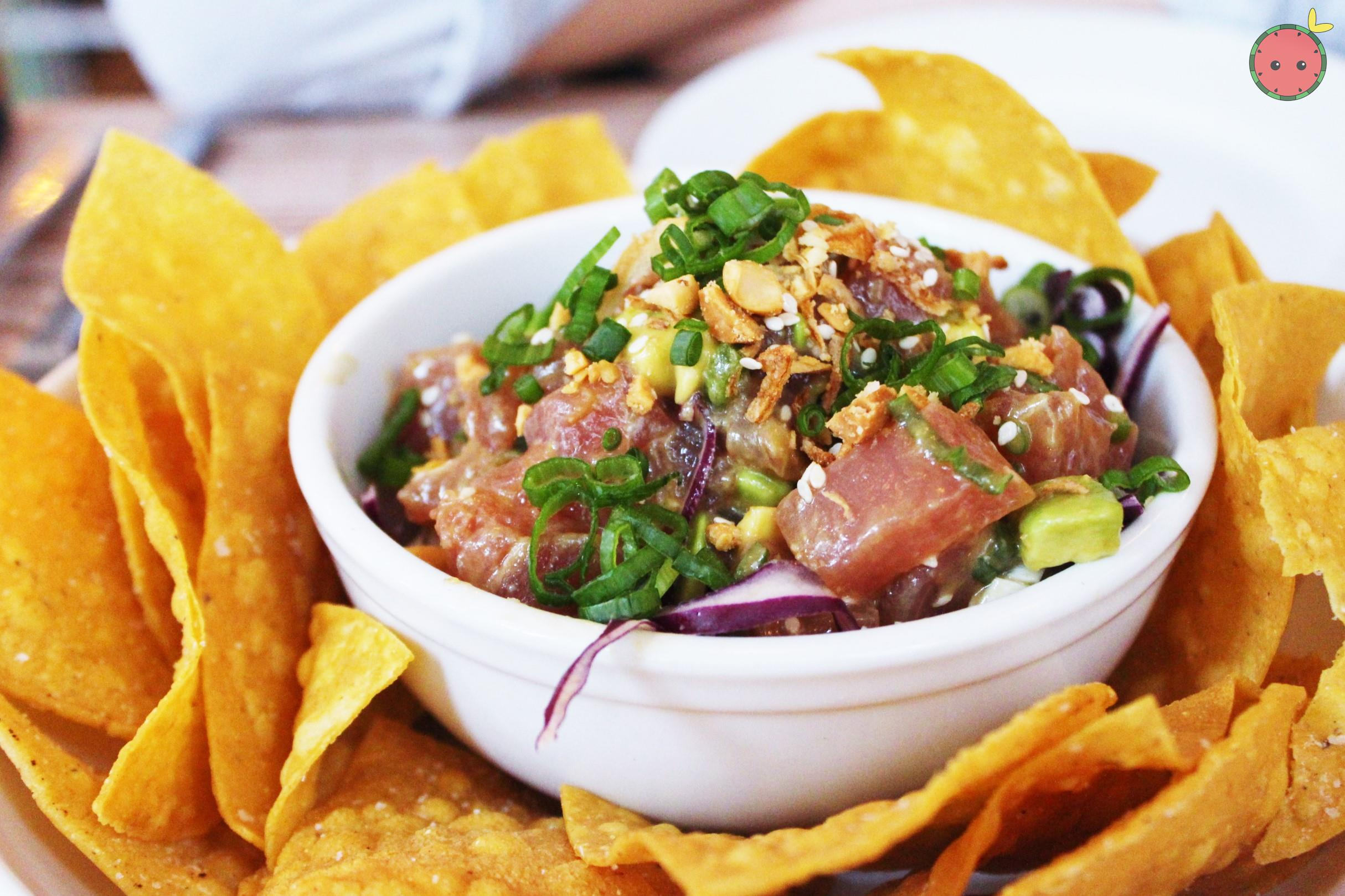 Poke with ponzu, peanuts, and avocado