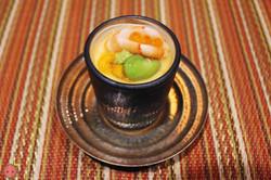 Sakizuke - Chilled Tamaji-Mushi, shrimp, uni, lima bean, and gin-an