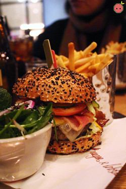 Cheese burger, fries, and side salad