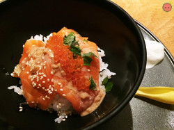 Tasmanian salmon sashimi, trout caviar, onion sesame wasabi purée