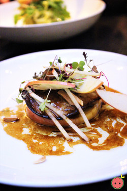 Seared duck foie & honey crisp apple with cherry vinegar reduction & almonds