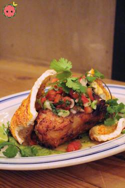 Carnitas Michoacanas - Michoacan style pork shank, avocado-tomatillo salsa, pico de gallo, chicharro