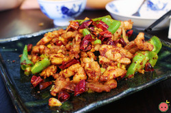 Three Pepper Chicken - Stir-fried with red and green chili peppers and peppercorn