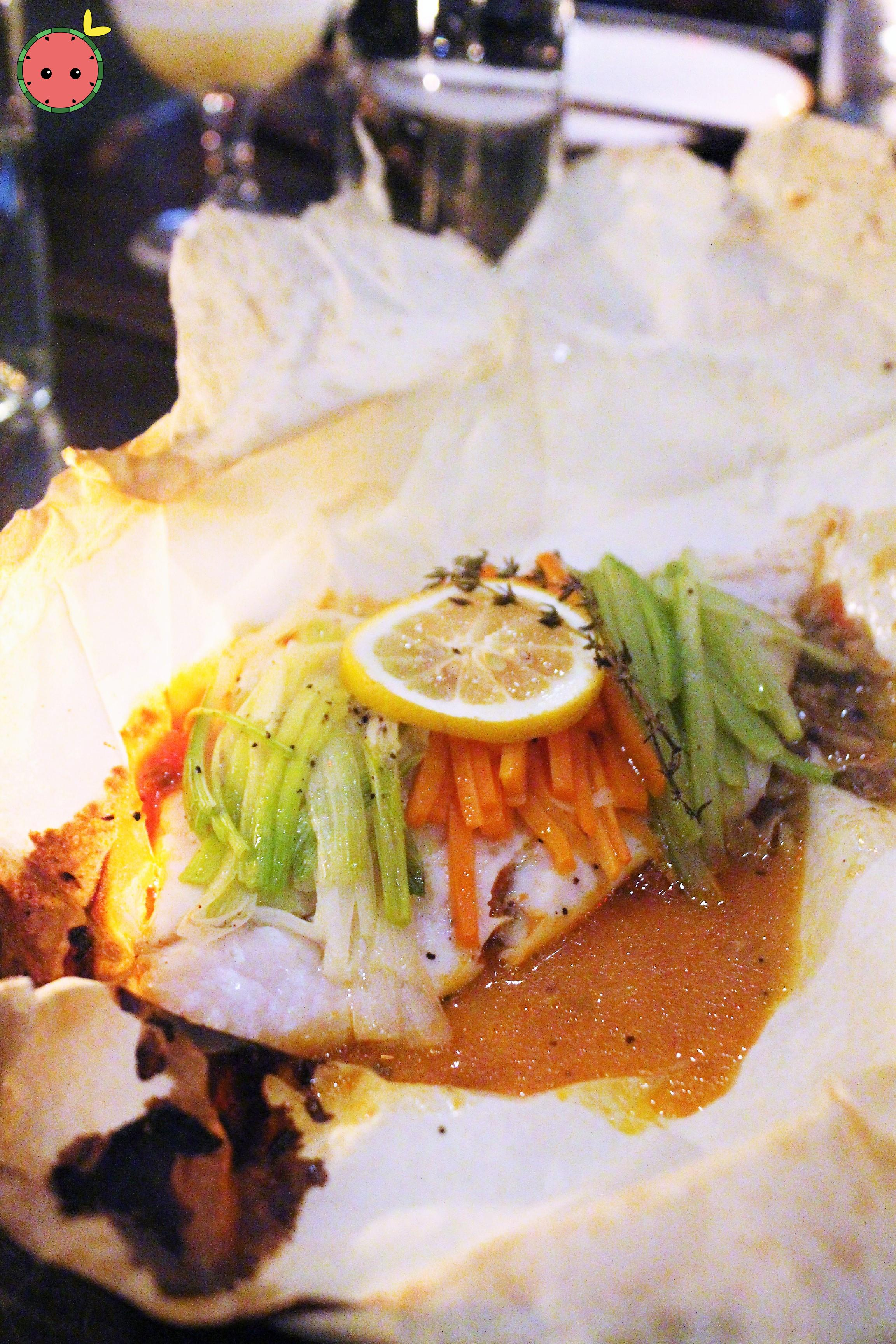 Flounder En Papillote - Fondue de tomatoes, mushroom duxelles, vegetable garniture