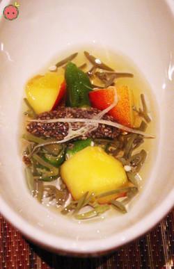 Tomezakana - Junsai fresh water shield, okura, and nectarine with chia seed vinegar