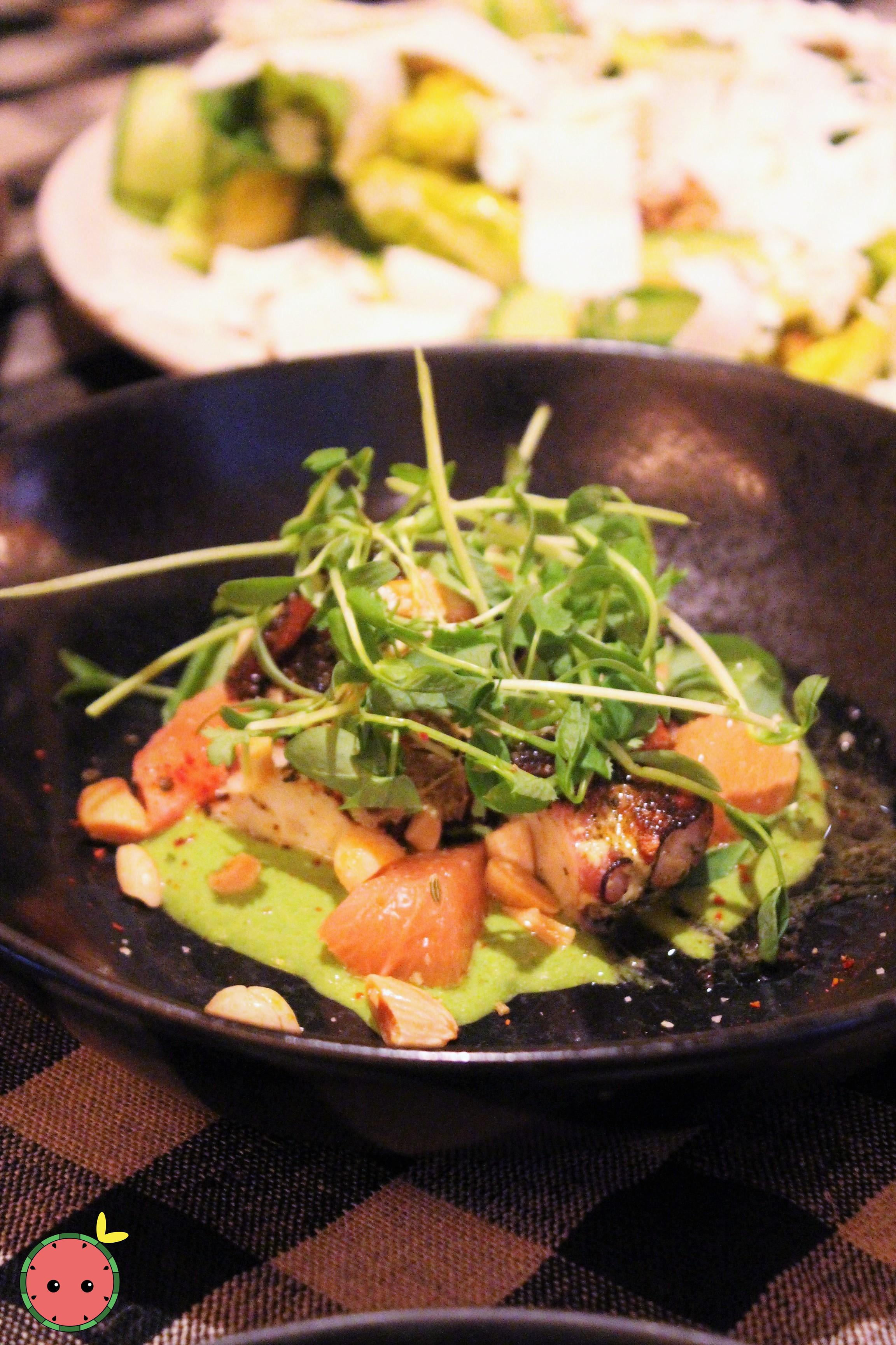 Seared Octopus - Cilantro-avocado pesto, calabrian chili & marcona almonds (1)
