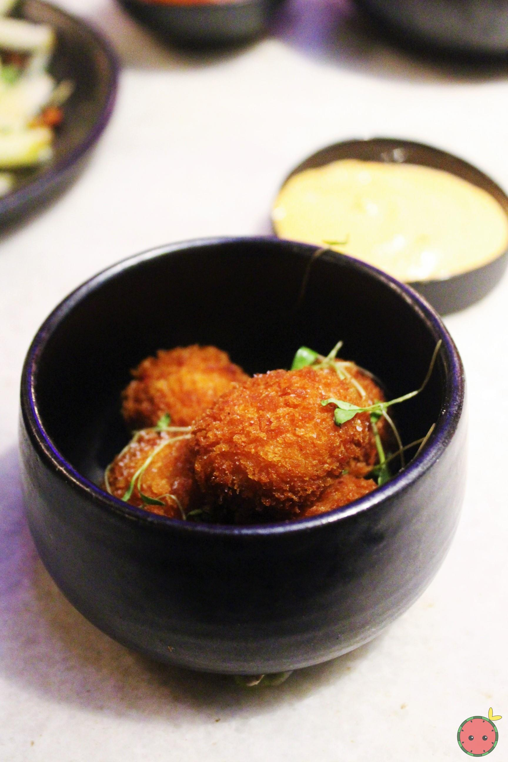Peekytoe crab fritters and chipotle mayonnaise