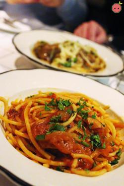 Bucatini Amitriciana - Pork cheek sauce, grilled onions, tomato