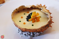 Spider crab jelly with creamy rock crab and herbs infusion