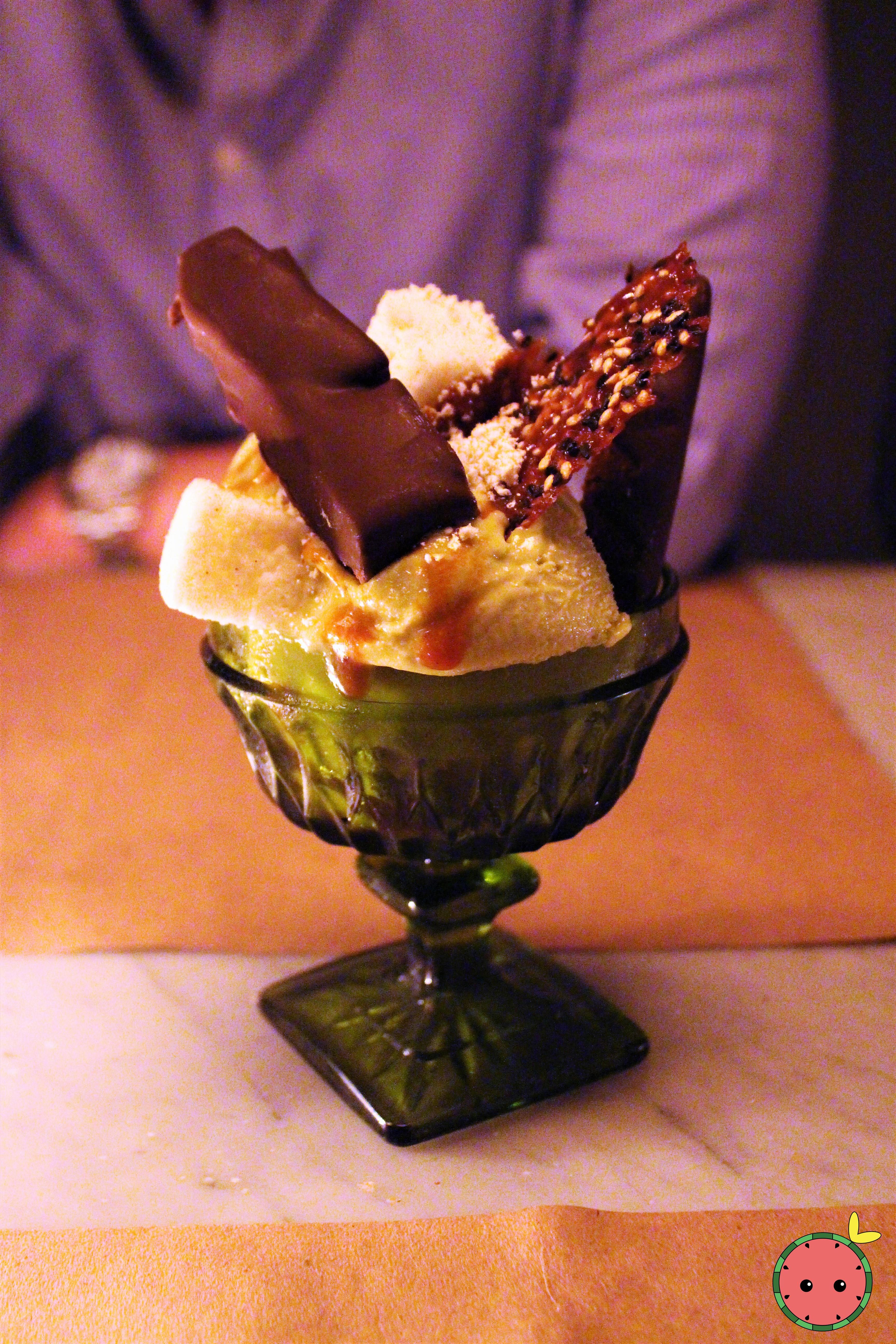 Matcha Sundae - Matcha ice cream, miso caramel sauce, fudge, homemade kit kat, more delicious stuff
