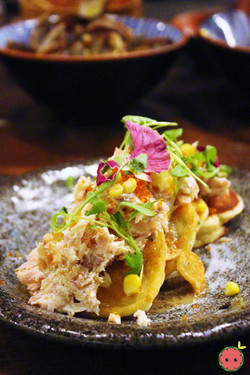 Okonomiyaki - Scallion and corn mean pancake, smoked trout, tobico, and foie maple syrup