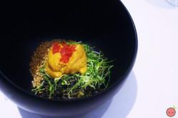 Sea urchin with seaweed and quinoa