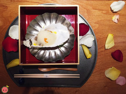 Pacific jumbo oyster, uni, scallop, and meyer lemon dressing