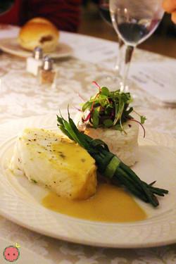 Pan seared chilean sea bass, steamed jasmine rice and citrus fondue